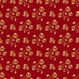 floral χρυσός κόκκινος άνευ ρα& απεικόνιση αποθεμάτων