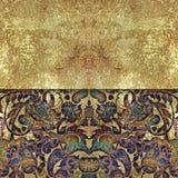 Floral χρυσό αφηρημένο shabby χρωματισμένο υπόβαθρο Στοκ Εικόνα