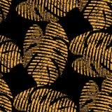Καθιερώνον τη μόδα τροπικό διανυσματικό άνευ ραφής σχέδιο φύλλων Floral οργανικό υπόβαθρο Ο χρυσός αφήνει το σχέδιο στοκ εικόνες με δικαίωμα ελεύθερης χρήσης