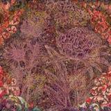 Χρωματισμένο αφηρημένο floral υπόβαθρο με τις διακοσμήσεις Στοκ Φωτογραφία