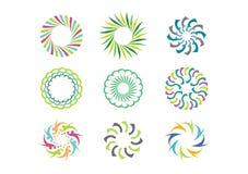 Floral πρότυπο λογότυπων κύκλων, σύνολο στρογγυλού αφηρημένου διανυσματικού σχεδίου σχεδίων λουλουδιών απείρου Στοκ Εικόνες