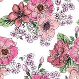 floral πρότυπο άνευ ραφής Υπόβαθρο ανθοδεσμών λουλουδιών Στοκ Φωτογραφίες