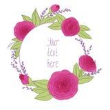 Όμορφη ευχετήρια κάρτα με το floral πλαίσιο Στοκ φωτογραφία με δικαίωμα ελεύθερης χρήσης