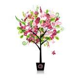 Floral δέντρο στο δοχείο για το σχέδιό σας Στοκ εικόνα με δικαίωμα ελεύθερης χρήσης