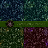 Διανυσματικό σύνολο άνευ ραφής σχεδίων με τα floral στοιχεία Στοκ Εικόνες