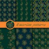 Διανυσματικό σύνολο άνευ ραφής σχεδίων με τα floral στοιχεία Στοκ Φωτογραφίες