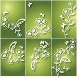 Floral υπόβαθρο λουλουδιών και πεταλούδων Στοκ Εικόνες