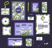 Εταιρικά επιχειρησιακά πρότυπα ύφους Σύνολο floral σχεδίου άνοιξη Στοκ Εικόνα