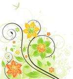 Floral κάρτα με τα πρότυπα και το πουλί Στοκ Εικόνα