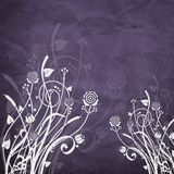 Floral. Grunge floral on purple background Stock Images