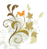 Floral abstract. With butterfly on a white background Royalty Free Stock Images