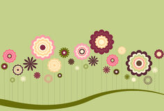 Floral Abstract. Flower shapes in muted Spring colors on green background Royalty Free Stock Photography