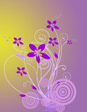 Floral abstract bacground. Floral illustration for design in purple background Royalty Free Stock Image