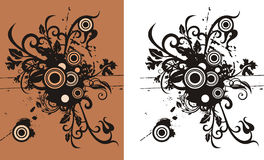 Floral abstract background. With circle and grunge elements. Color and black and white versions available Stock Photography