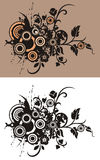 Floral abstract background. With circle and grunge elements, in beige, soft brown and black colors. Black and white version also available Stock Photo