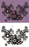 Floral abstract background. With circle and grunge elements, in violet, rose and black colors. Black and white version also available Stock Images