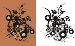 Floral abstract background. With circle and grunge elements, in brown and black colors. Black and white version also available Stock Images