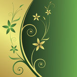 Floral abstract background. Floral gold-green abstract background with space for text vector illustration