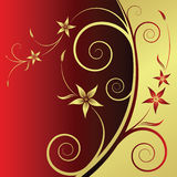 Floral abstract background. Floral gold-red abstract background with space for text vector illustration