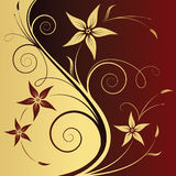 Floral abstract background. Floral gold-red abstract background Stock Images