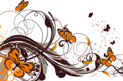 Floral abstract background with butterflies Royalty Free Stock Image