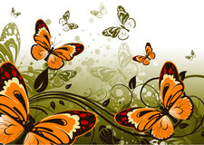 Floral abstract background with butterflies Stock Images