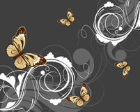 Floral abstract background with butterflies Royalty Free Stock Images