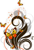 Floral abstract background with butterflies Stock Photo