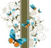 Floral abstract background with butterflies Royalty Free Stock Photo