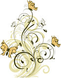 Floral abstract background with butterflies. Royalty Free Stock Images