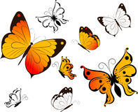 Floral abstract background with butterflies. Royalty Free Stock Photo