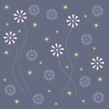 Floral abstract background. Light pink and blue flowers on a blue background with yellow stars. Design element, pastel colors Royalty Free Stock Photo