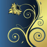Floral abstract background with space for text. Floral gold-blue abstract background with space for text vector illustration