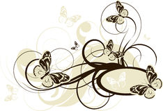 Floral abstract banner with butterflies Stock Photography