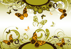 Floral abstract banner with butterflies Royalty Free Stock Photography