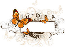 Floral abstract banner with butterflies Royalty Free Stock Image