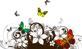 Floral abstract banner with butterflies Royalty Free Stock Photos