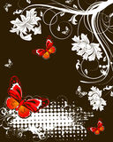 Floral abstract banner with butterflies Stock Photo