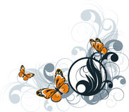 Floral abstract banner with butterflies Stock Image