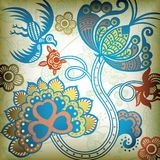 Floral Abstract with Bird. Illustration of Floral Abstract with Bird Stock Photo