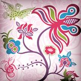 Floral Abstract with Bird Stock Photography