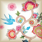 Floral Abstract and Bird Stock Image
