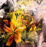Floral abstract composition with stylized bouquet of yellow lilies Royalty Free Stock Image