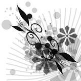 Floral Abstract Design. A fully scalable vector illustration of a black and white Floral Abstract Design royalty free illustration