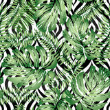 Floral abstract geomtric tiled pattern. Tropical palm leaves sea Royalty Free Stock Image