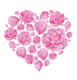 Floral  abstract heart of watercolor roses  Saint Valentine's Day Stock Image