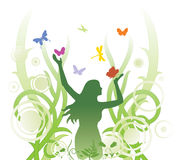 Floral abstract illustration. Floral abstract with girl and butterflies Stock Photography