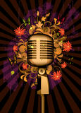 Floral abstract with microphone and butterflies. Floral abstract with microphone on a dark background Stock Photo