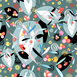 Floral and abstract pattern with birds Stock Image