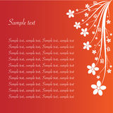 Floral abstract on red with sample text. Abstract hand drawn floral design on red background with sample text Stock Illustration